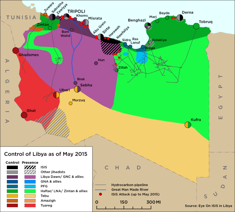 Map of Libya Control as of May 2015